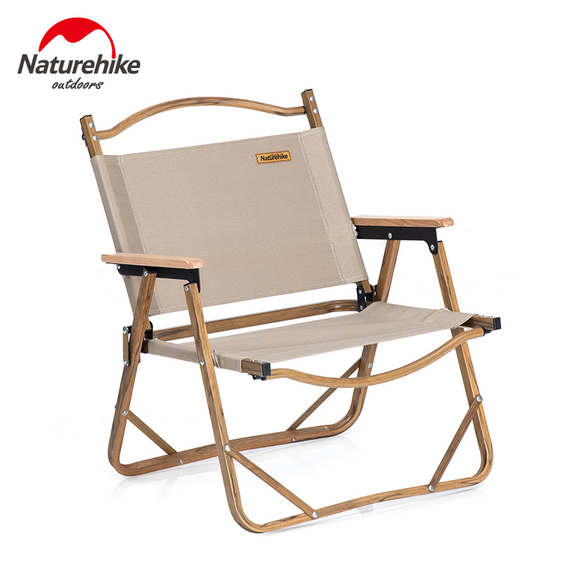 Naturehike Ultralight Folding Chair Wood Grain Aluminum Alloy Support Camping Fishing Chair Bearing 120kg Outdoor Portable Mw02