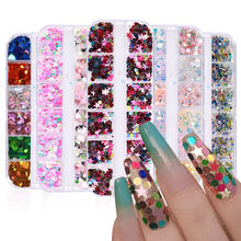 12 Grid/Set Heart Sequins for Nail Art Decorations 2021 Fashion Star Nails Accessories Sticker for DIY Manicure Design