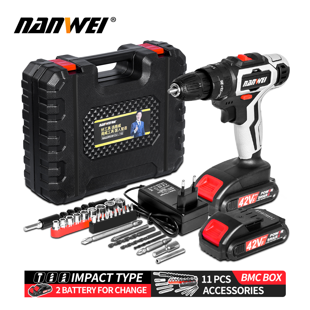 NANWEI power tools two battery rechargeable drill Mini 21V Lithium battery drill double speed Cordless drill