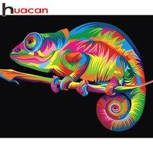 Huacan-Kit de bordado de diamantes 5D de animales de punto de cruz, cuadro de diamantes cuadrado completo, camaleón, decoración del hogar