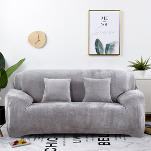 Image 1 - Plush Sofa Cover Stretch Solid Color Thick Slipcover Sofa Covers for Living Room Pets Chair Cover Cushion Cover Sofa Towel 1PC