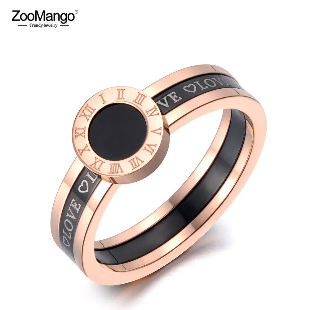 Zoomango clássico preto acrílico amor numerais romanos anéis de casamento para mulher titânio anel de aço inoxidável jóias zr19060