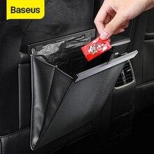 Baseus 자동차 좌석 뒤 주최자 PU 가죽 쓰레기 수납 가방 자동 뒷좌석 멀티 포켓 교수형 주머니 자동차 주최자 액세서리