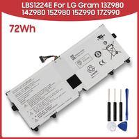Original Replacement Battery 72Wh LBS1224E For LG Gram 13Z980 14Z980 15Z980 15Z990 17Z990 72Wh Laptop Batteries