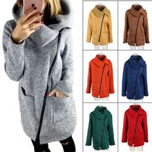 2020 new size 5XL diagonal zipper collar ladies autumn and winter wear warm wool coat jacket ladies jacket women's clothing(China)