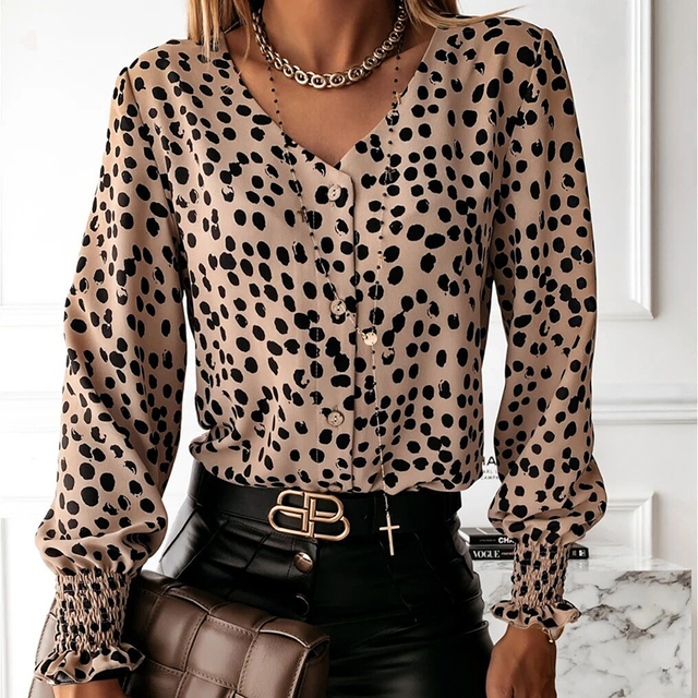 Elegant Polka Dot Ruffle blouse shirts Women Autumn Long Sleeve V-Neck Pullover Tops Office Lady Casual Button Plus Size blusa 5