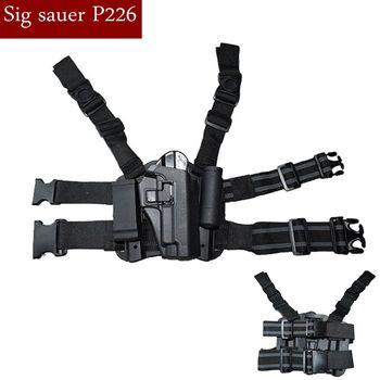 Tactical Right Leg Thigh Holster W/Magazine Torch Pouch For Sig Sauer P226 Gun Hand Quick Drop