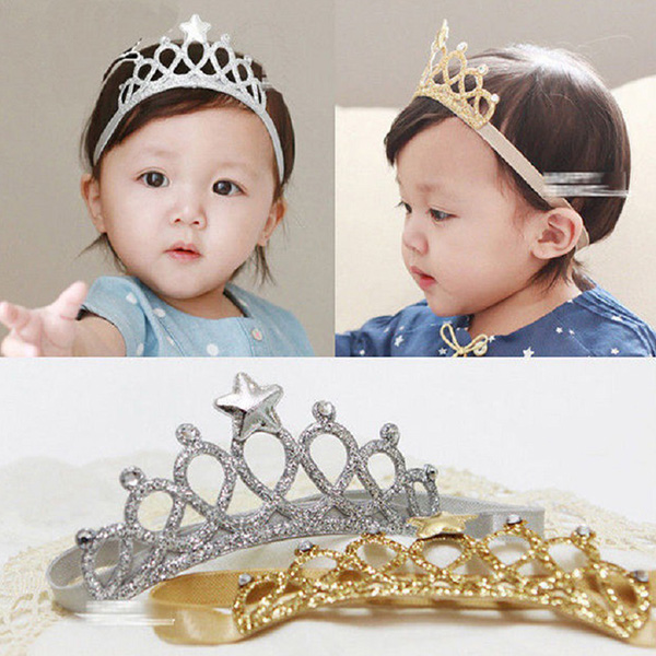 Elastic Baby Kids Rhinestone Pearl Crown Hair Bands Hair Acces Headband Gold