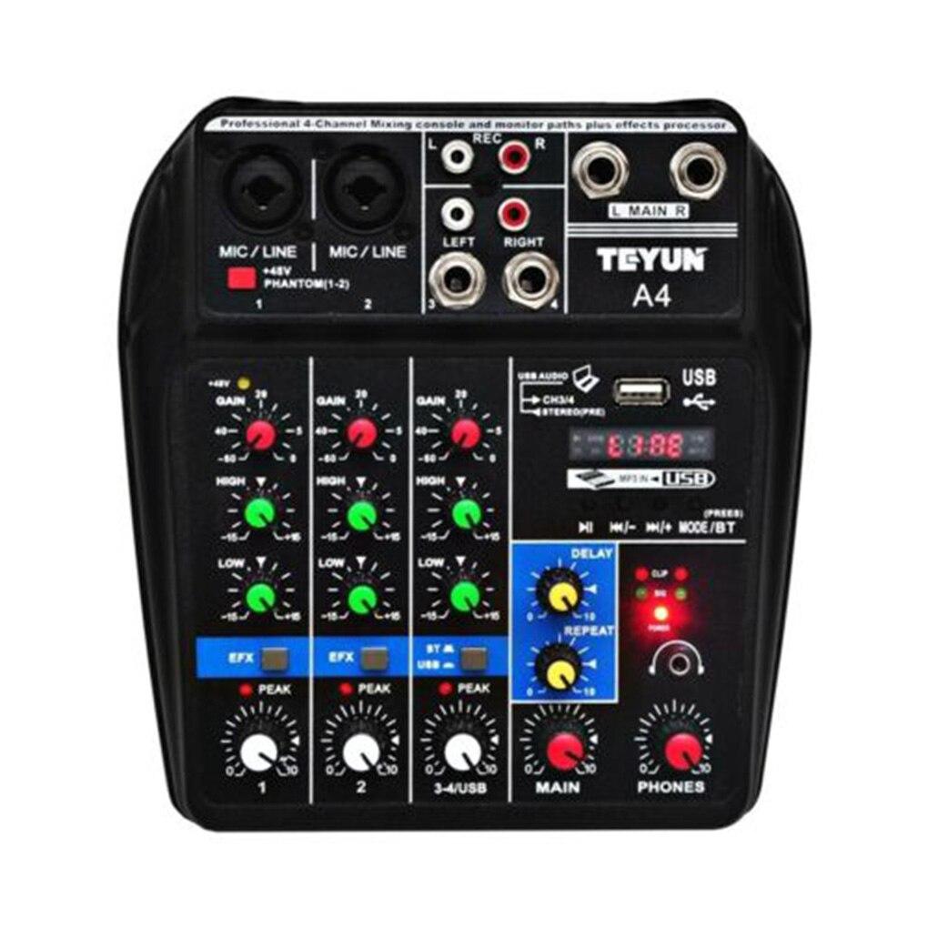 Console de mixage sonore A4 enregistrement Bluetooth USB lecture d'ordinateur 48V retard d'alimentation fantôme effet Repaeat mélangeur Audio USB 4 canaux