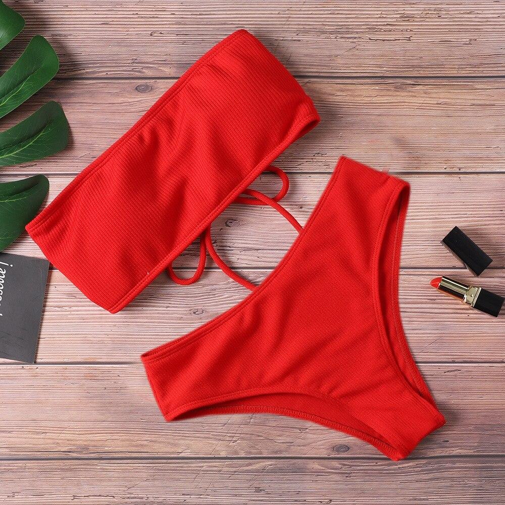 Bikini brasileño con lazo trasero para mujer, traje de baño liso con relleno y sin tirantes para playa y piscina, bañador Sexy con lazo trasero para mujer