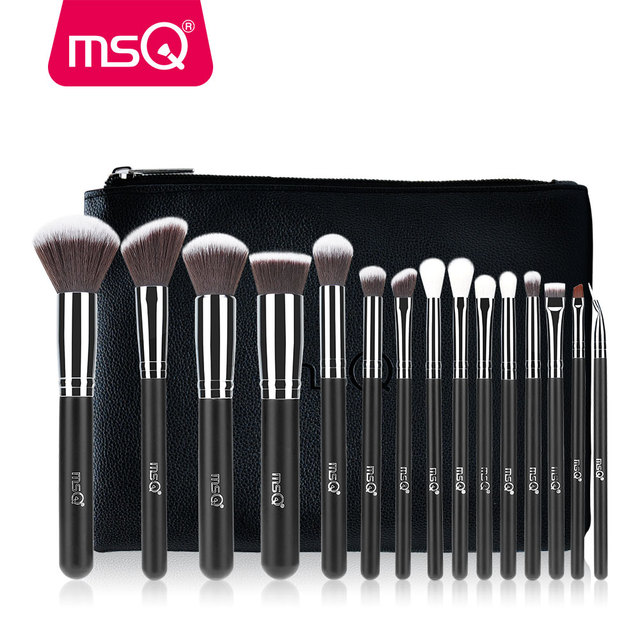 MSQ Professional 15pcs Makeup Brushes Set Powder Foundation Eyeshadow Make Up Brush Kit Cosmetics Synthetic Hair PU Leather Case