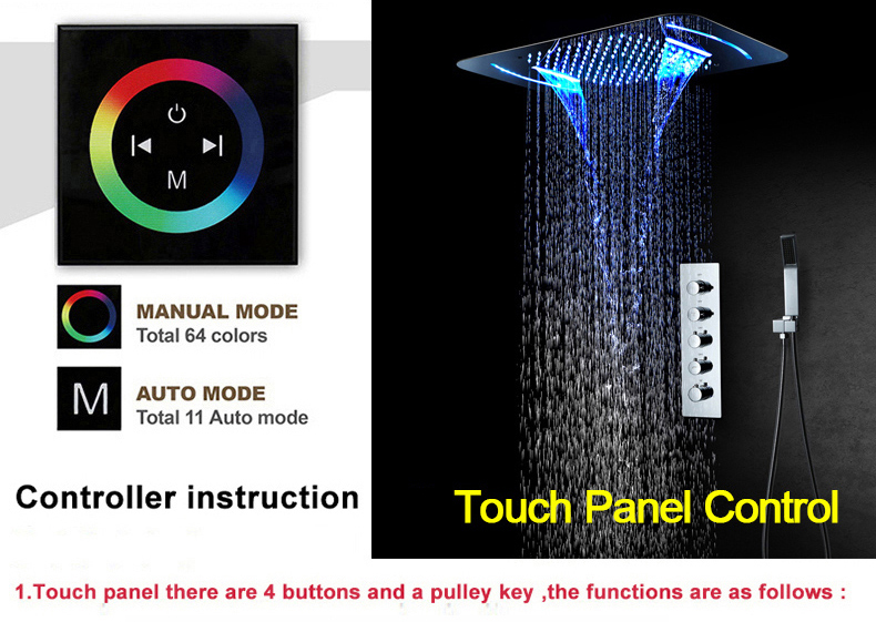 H906b5f284fa744c78a0340f1f3476aa6B M Boenn Rain Shower System LED Shower Panel Bathroom Faucet Thermostatic Valve Bath Mixer Tap Embedded Ceiling Shower Set Chrome