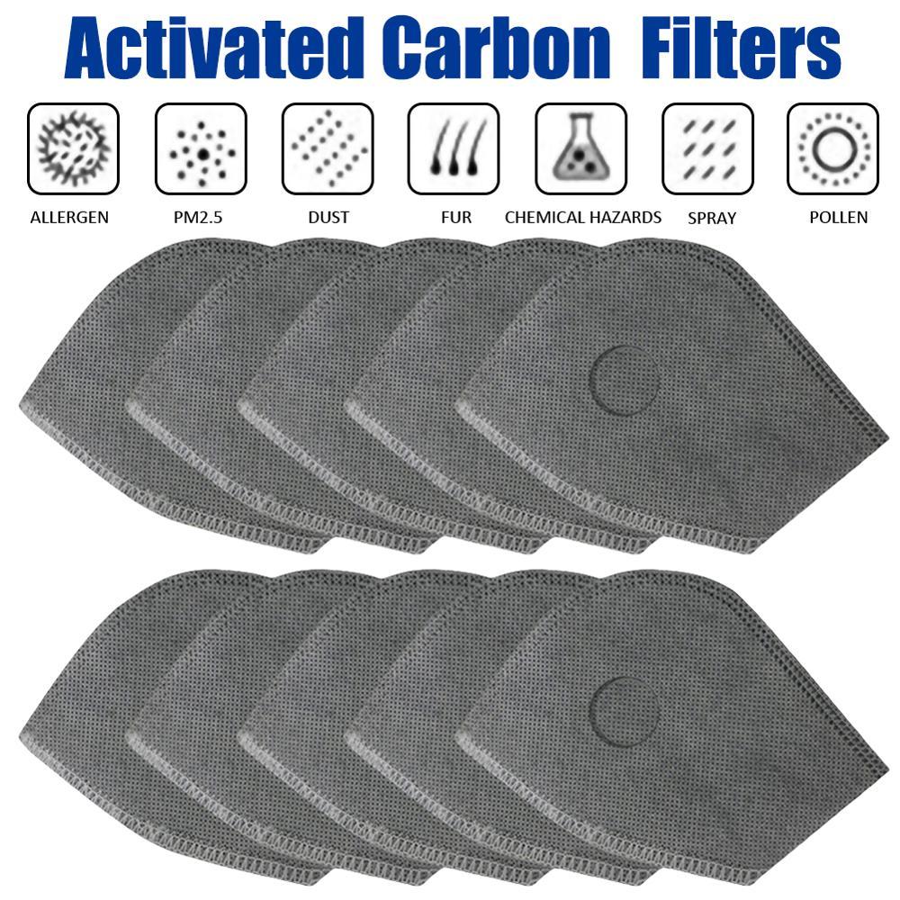 10 pièces PM 2.5 charbon actif masque filtre pour cyclisme vélo vélo masques filtre à Air poussière Pollution masque filtre Anti-poussière outil