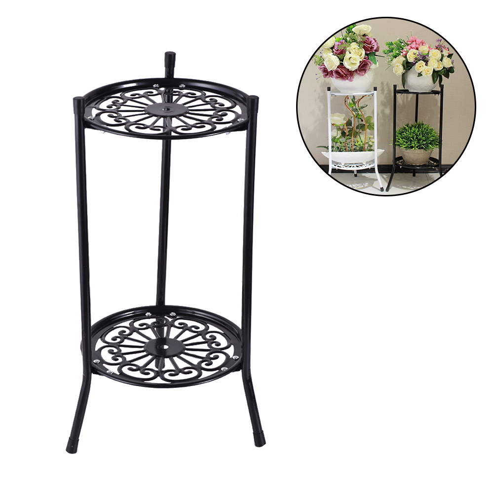 Balcony Flower Plant Stand Flower Pot Rack Shelf European Simple Style Multi-Tier Wrought Iron Stand For Indoor Holder
