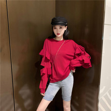 Make firm offers in the fall of new han edition fleece thin fashion tide loose cut sleeve blouse lotus leaf