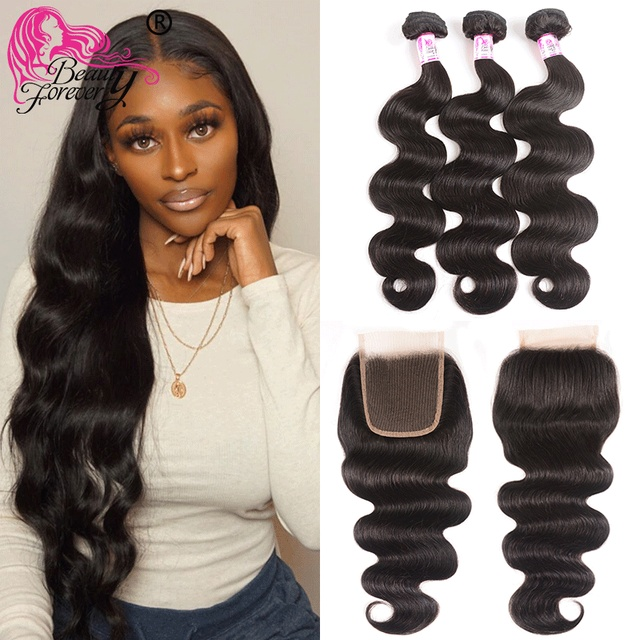Beauty Forever Peruvian Body Wave Hair 3 Bundles With Lace Closure 100% Remy Human Hair With 4*4 Silk Base Closure