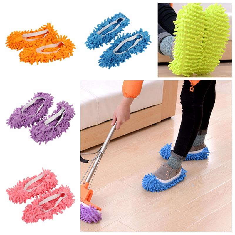 Mop Slippers House Cleaning Dust Removal Lazy Floor Wall Dust Removal Cleaning Feet Shoe Covers Washable Reusable Microfiber