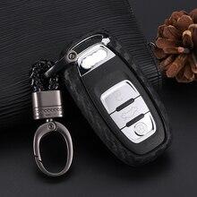 Karbon Fiber doku akıllı araba anahtar kovanı kapak tutucu koruyucu Audi için Fit A4 A5 A6 A7 Q5 Q2 aksesuarları araba araba styling