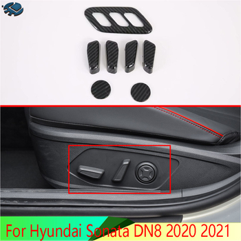 For Hyundai Sonata DN8 2020 2021 Car Accessories Carbon fiber style Interior Inner Seat Adjustment Switch Knob Button Cover Trim image