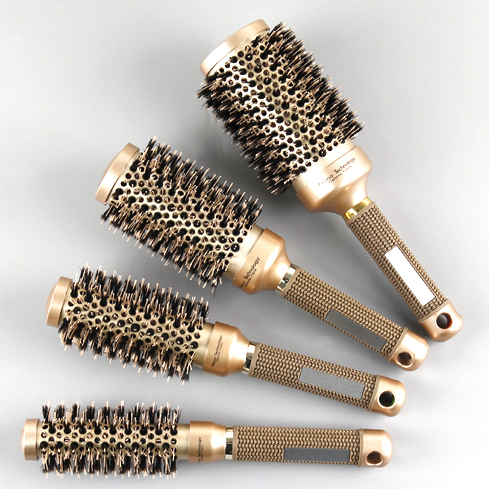 Hair Brush Curly Hair Nano Boar Bristle Salon Comb Barrel Blow Dry Hair Round Brush In 4 Sizes Professional Salon Styling Tools