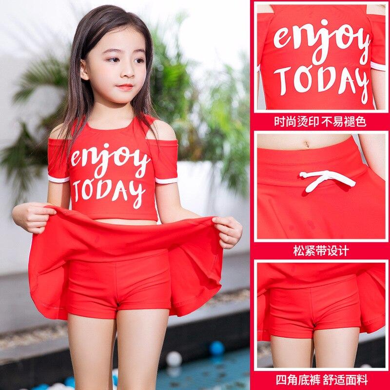 KID'S Swimwear Girls Split Skirt-Swimwear Big Boy Cute Baby Swim Bathing Suit Sports Conservative Bathing Suit Boxer
