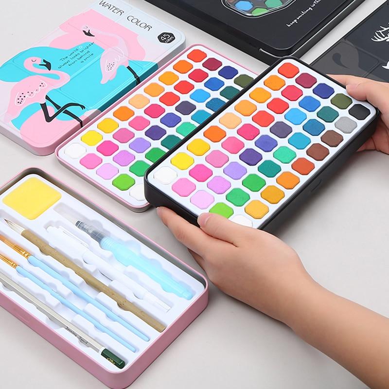 45 Colors Solid Watercolor Paint Set Portable Metal Box Watercolor Pigment for Beginner Drawing Watercolor Paper Supplies