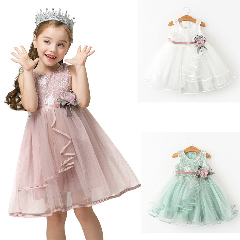 Dress Baby Girls Princess Party 3-8 Years Summer Beach Casual Sleeveless