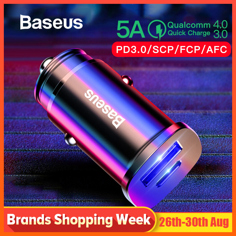 Baseus 30W Dual USB C PD Quick Charge QC 4.0 Car Charger For Mobile Phone Charger Fast USB PD Type C AFC SCP Car Phone Charger 2007 bmw x5 spoiler