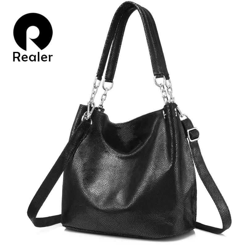 REALER Genuine Leather Handbags Female Large Messenger Bag Women Shoulder Bags Fashion Ladies Top-handle Bags High Quality Totes