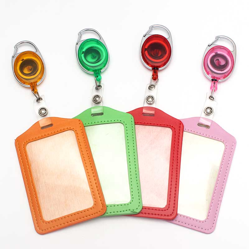 8Colors  Retractable Pull Badge Reel Plastic Character Scalable Student Nurse Exhibition PU Vertical Business Card Badge Holder