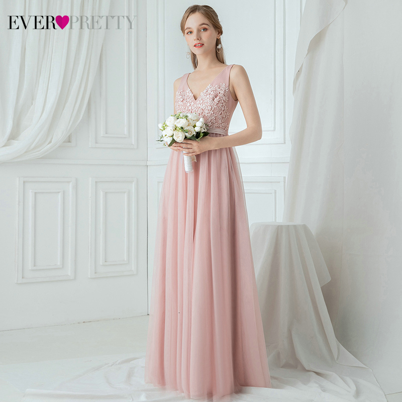 Elegant Blush Bridesmaid Dresses Ever Pretty A-Line V-Neck Appliques Ruched Tulle Simple Wedding Party Gowns Vestido De Festa
