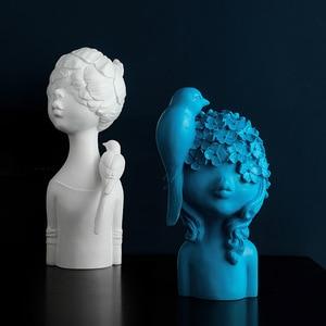 Image 3 - VILEAD 27cm 33cm Resin Bird Flower Girl Figurines Nordic Creative Character Statue Abstract Ornament Housewarming Gift Decor