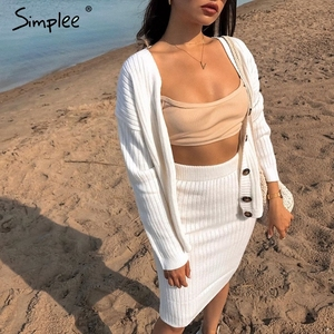 Image 2 - Simplee women knitted sweater dress Elegant autumn winter two pieces skirt suit White long sleeve female cardigan midi dresses