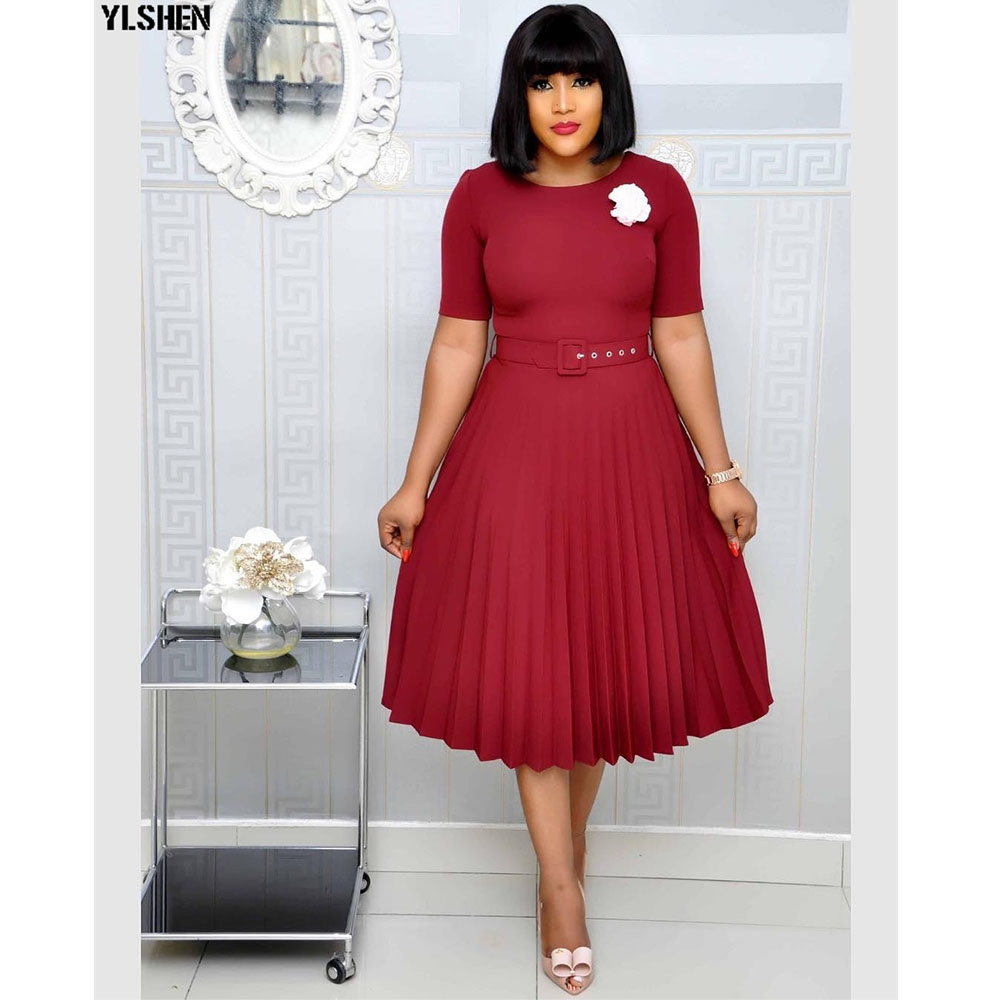 Pleated African Dresses For Women 2020 Elegent Fashion Style African Women Plus Size Polyester Knee-length Dress S-3XL