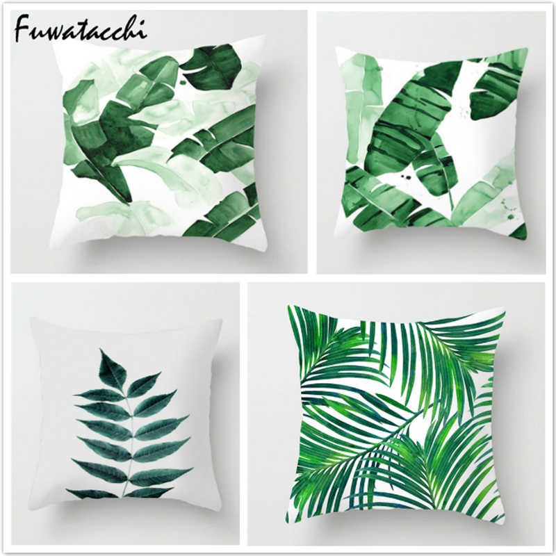 Fuwatacchi Green Leaf Throw Pillow Cover Tropical Plant Cushion Cover Palm Leaf Pillow Cover Pillowcase For Home Sofa Bedroom