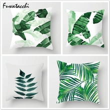 Fuwatacchi Green Leaf Throw Pillow Cover Tropical Plant Cushion Palm Pillowcase for Home Sofa Bedroom
