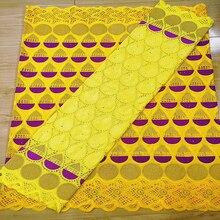 Африканская сетчатая кружевная ткань 2020, Высококачественная французская кружевная ткань из 100% хлопка с вышивкой, Bazin Riche Getzner 2,5 + 2,5 ярдов/партия, A19371