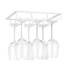 Wine Glass Rack - Under Cabinet Stemware Wine Glass Holder Glasses Storage Hanger Metal Organizer for Bar Kitchen White