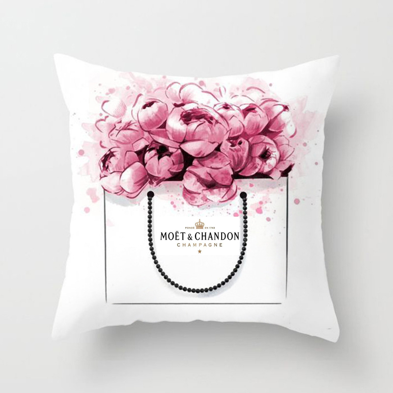 45*45 Hand Painted Flowers Perfume Camera Super Soft Chair Cushion Cover For Sofa Pillow Case Home Decorative Pillow Cover Case