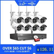 2MP 1080P CCTV 시스템 8ch HD 무선 NVR 키트 3 테라바이트 HDD 야외 IR 밤 비전 IP 와이파이 카메라 보안 시스템 감시 Hiseeu