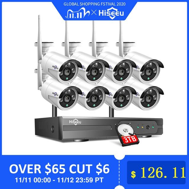 2MP 1080P CCTV System 8ch HD Wireless NVR kit 3TB HDD Outdoor IR Nachtsicht IP Wifi Kamera sicherheit System Überwachung Hiseeu