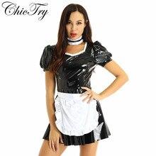 Feminino francês empregada cosplay traje vestido rpg festa puff manga a linha vestido de festa de couro com avental e bandana