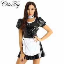 Women French Maid Cosplay Costume Dress Role Play Party Puff Sleeve A line Patent Leather Party Dress with Apron and Headband