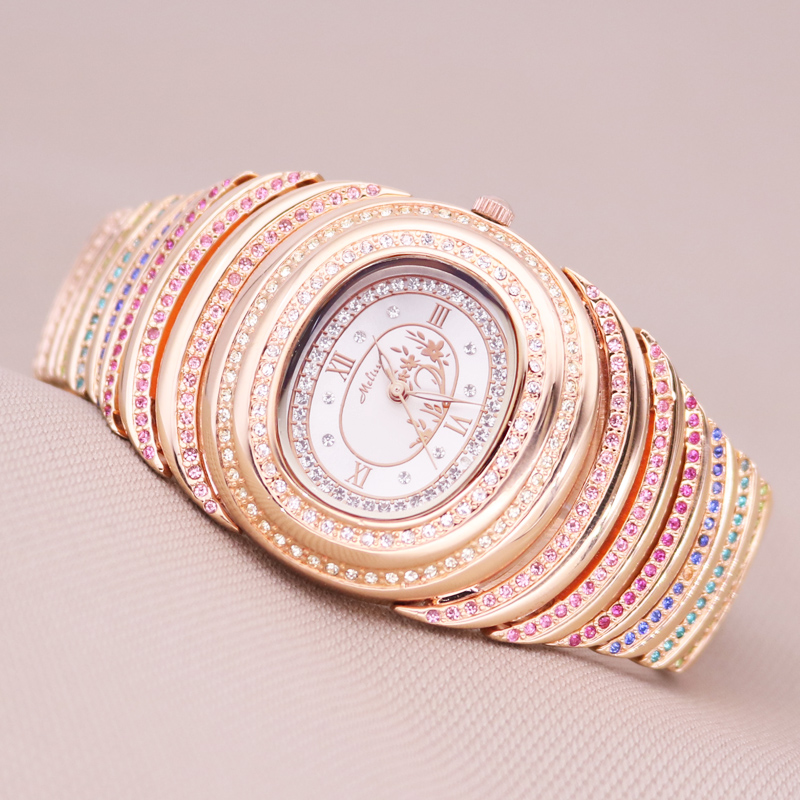 Top Melissa Big Lady Women's Watch Japan Quartz Fashion Bracelet Rhinestone Luxury Colorful Crystal Girl's Birthday Gift Box