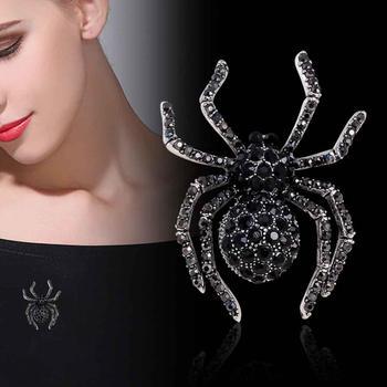 Vintage mujer Rhinestone incrustado araña broche Pin mochila distintiva joyería para solapas de regalo, regalo de la señora, стетитититититетититетитетиттитетититити 2020