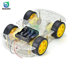 все цены на 1 Set Mini Robot Smart Car Chassis Diy Kit Parts 4WD Off-Road Car Toys for Children онлайн