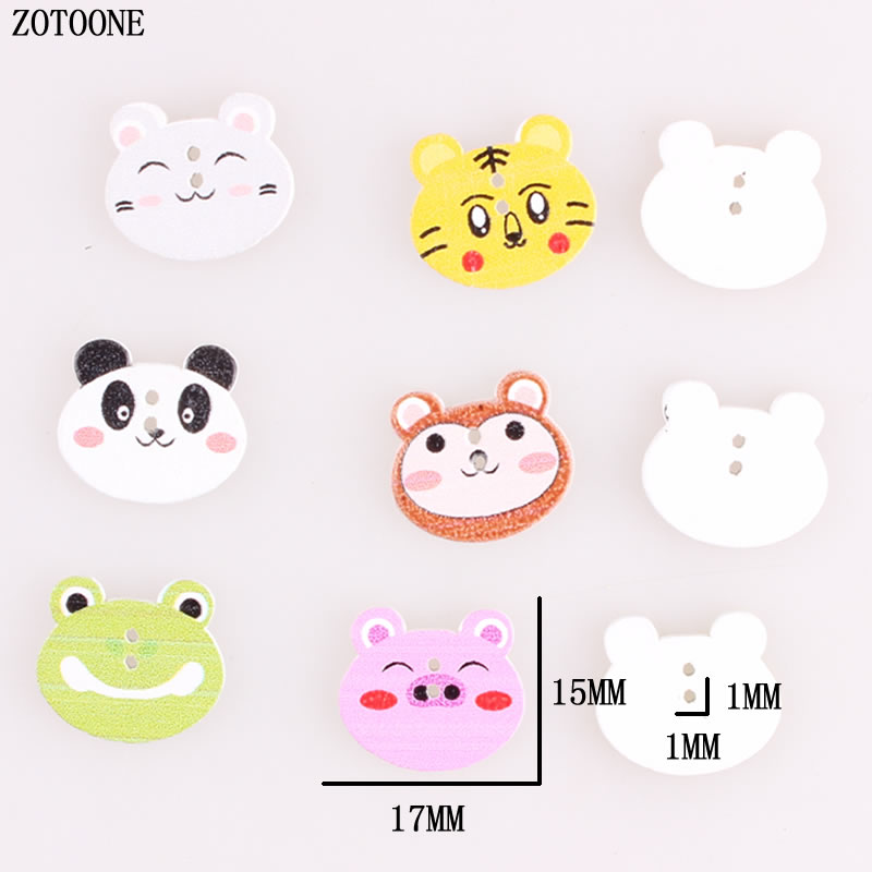 ZOTOONE 50pcs Mix Cute Animal Wooden Buttons Cat Panda Tiger Pig Sewing Craft  2 Holes Scrapbooking Products for Kids A