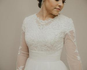 Image 4 - New ARRIVAL A Line เจียมเนื้อเจียมตัวงานแต่งงานชุดยาวภาพลวงตาแขนคอลูกไม้ Tulle ปุ่มกลับ LDS ชุดเจ้าสาวเจียมเนื้อเจียมตัว