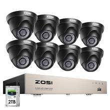 ZOSI 1080p نظام مراقبة بالفيديو 8CH HD TVI 1080P H.265 + CCTV DVR مع 8 قطعة HD 2.0MP في/مجموعة كاميرات أمنية قبة في الهواء الطلق