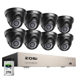 Image 1 - ZOSI 1080p Video Surveillance System 8CH HD TVI 1080P H.265+ CCTV DVR with 8PCS HD 2.0MP In/Outddor Dome Security Cameras Kit